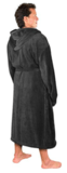 NY Threads Luxurious Men's Shawl Collar Fleece Bathrobe with Hood