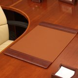 Dacasso 25.5 x 17.25 Inch Mocha Leather Desk Pad with Side Rails