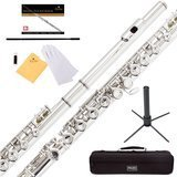 Mendini by Cecilio Closed Hole C Flute with Stand