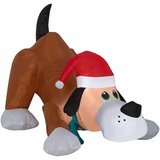 Gemmy Inflatable Playful Puppy Dog with Santa Hat