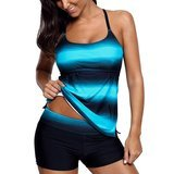 Xihe Fashion Strappy Hollow-out Back Tankini